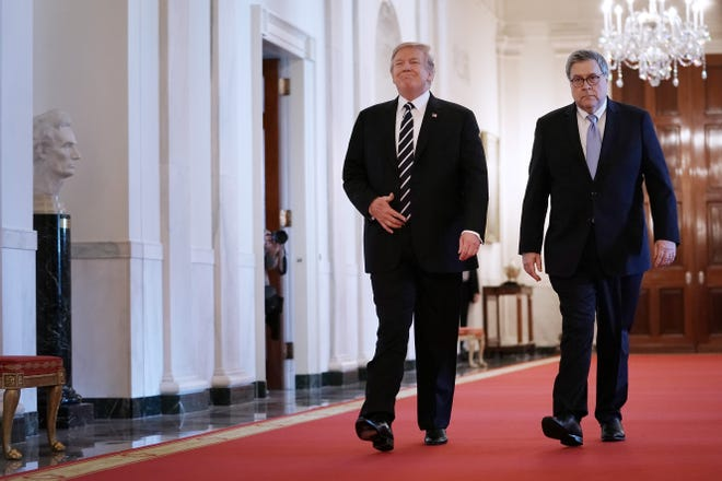 """Attorney General William Barr has cast the myriad investigations that have shadowed President Donald Trump as """"sabotage."""""""