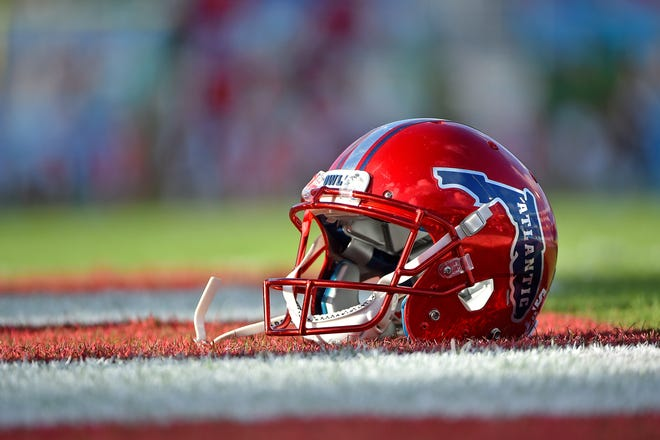 A general view of a Florida Atlantic helmet prior to the team's game against Marshall at FAU Football Stadium.