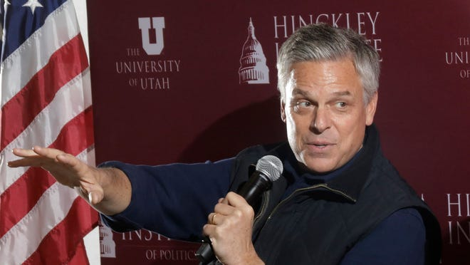 Republican ex-Russia ambassador Jon Huntsman Jr. speaks at the Hinckley Institute of Politics Thursday, Dec. 5, 2019, in Salt Lake City.