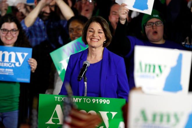 Sen. Amy Klobuchar celebrates in Concord, New Hampshire, on Feb. 11, 2020.