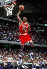 Chicago Bulls guard (45) Michael Jordan takes to the air against the Cleveland Cavaliers at Gund Arena.