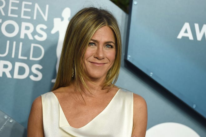 Jennifer Aniston arrives at the 26th annual Screen Actors Guild Awards on Jan. 19, 2020, in Los Angeles.