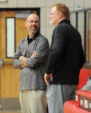 Anson coach Ryan Dollar, left, and Colorado City coach Barry Kimball talk prior to a girls basketball game Jan. 28. Dollar and Kimball are each head coach of their respective boys and girls basketball teams.