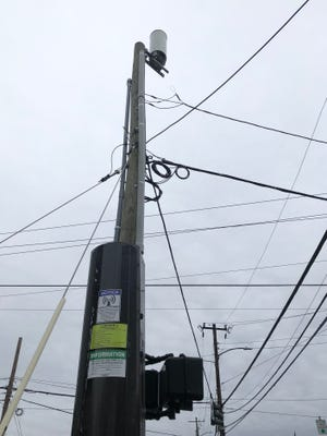 """Verizon has installed a """"small cell tower"""" on an existing utility pole at the corner of Hilliard and South French Broad Avenue."""