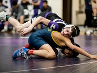 Lakeview's Louden Stradling grapples with Battle Creek Central's Eddie Lemus during the Division 1 District Semifinals on Wednesday, Feb. 12, 2020 at Lakeview High School in Battle Creek, Mich.