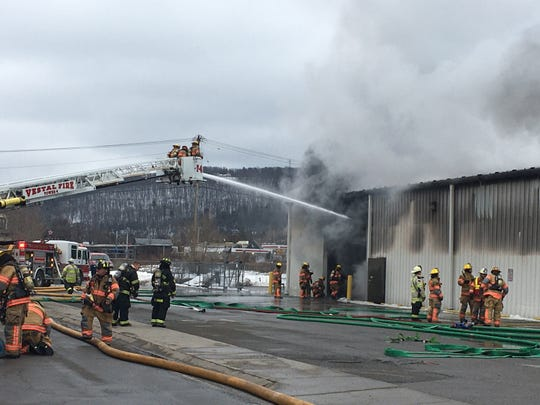 Firefighters battled a fire at Home Central Hardware Store in Vestal Thursday afternoon.