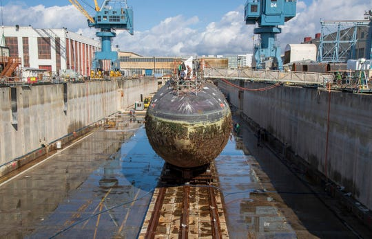 The USS Narwhal, decommissioned in 1999, awaits recycling in dry dock 3 at the Puget Sound Naval Shipyard. The Navy has floated the idea of expanding the 1919-built dry dock, one of six at the shipyard, to handle aircraft carriers.
