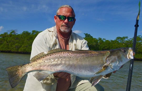 Jay Honan of Stuart caught and released this massive trout this week near Fort Pierce caught on a D.O.A. shad tail CAL jig. CONTRIBUTED PHOTO BY JAY HONAN