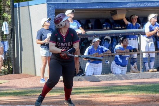 Florida Tech's Vanessa Rubio watched her home run sail over the fence against West Florida.