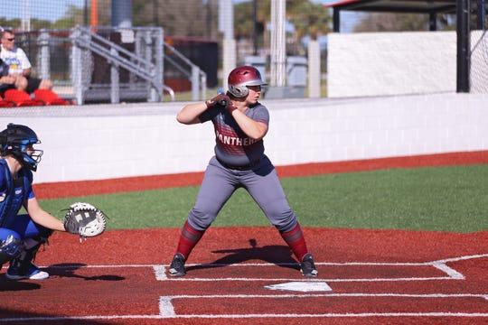 Florida Tech senior catcher Vanessa Rubio at the plate.