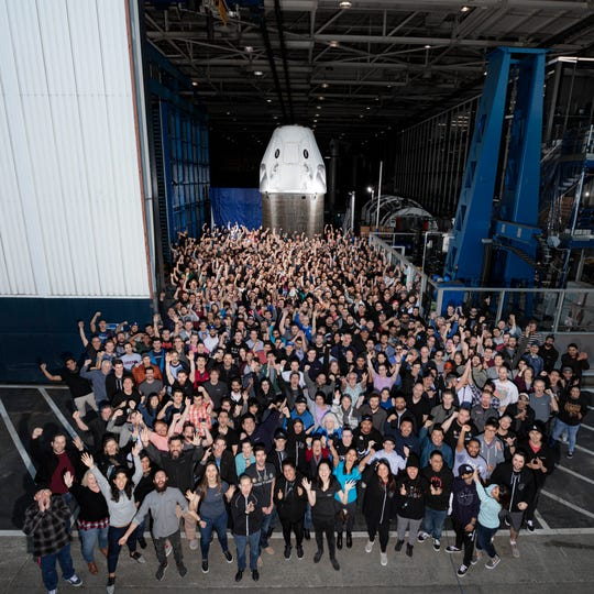 SpaceX's Crew Dragon capsule at the company's headquarters in Hawthorne, California, before it was shipped to the launch site in Cape Canaveral.
