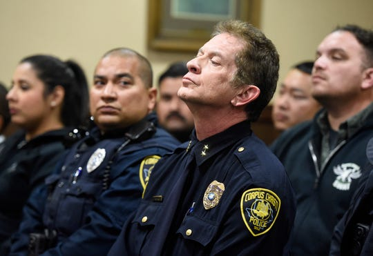 Assistant police chief Mark Schauer attends Brandon Portillo's court appearance, Thursday, Feb. 13, 2020, at the Nueces County Courthouse. Various Corpus Christi police department officers were in attendance.