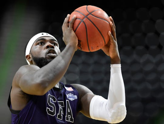 Stephen F. Austin's Kevon Harris prepares to shoot the ball a the game against Texas A&M-Corpus Christi, Wednesday, Feb. 12, 2020, at the American Bank Center. Stephen F. Austin won, 75-67.