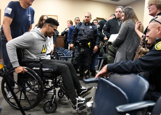 Corpus Christi police officer Michael Love attends Brandon Portillo's court appearance, Thursday, Feb. 13, 2020, at the Nueces County Courthouse. Love was injured in a traffic stop where officer Alan McCollum was struck by a vehicle and killed.
