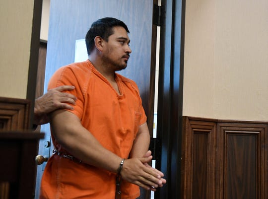 Brandon Portillo appears in court in connection with the death of Corpus Christi police officer Alan McCollum, Thursday, Feb. 13, 2020, at the Nueces County Courthouse. The 26-year-old is accused of driving drunk and killing Corpus Christi police Officer Alan McCollum and injuring Officer Michael Love on Jan. 31, 2020.