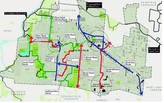 Slided from Fairfield connectivity plan presentation showing 10 proposed routes.