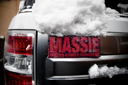 A car with a Thomas Massie campaign bumper sticker in Vanceburg, Ky., on Friday, Feb. 20, 2020.