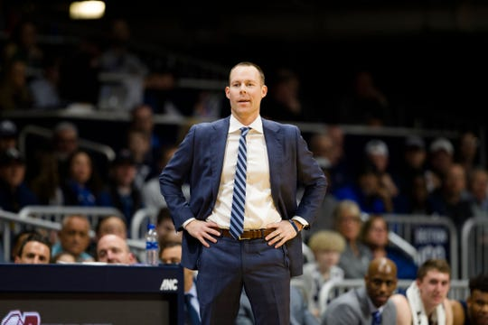 Xavier Musketeers head coach Travis Steele looks on in the first half of the NCAA men's basketball game between Xavier Musketeers and Butler Bulldogs on Wednesday, Feb. 12, 2020, at Hinkle Fieldhouse in Indianapolis, Ind.