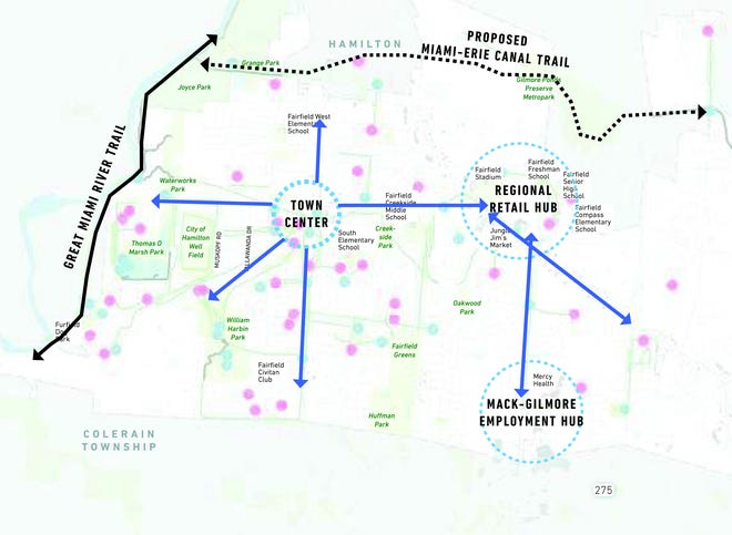 This slide from a Fairfield connectivity plan shows how several community hubs would connect for walkers and bikers.