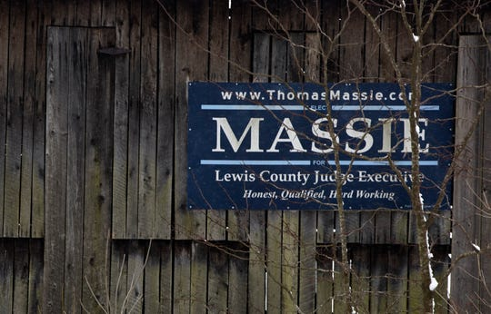 A campaign sign for Thomas Massie from his Lewis County Judge Executive campaign still hangs on a barn in Lewis County on Friday, Feb. 7, 2020.