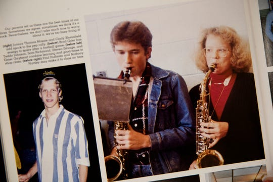 An image of Thomas Massie playing the saxophone in Pep Band inside the 1988 Lewis County yearbook.
