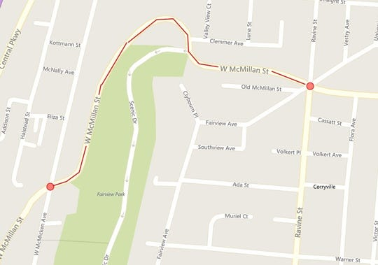 A portion of West McMillan Street is closed due to a landslide.