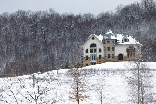 A view from the road of Thomas Massie's off the grid house in rural Lewis County, Ky., on Friday, Feb. 7, 2020.