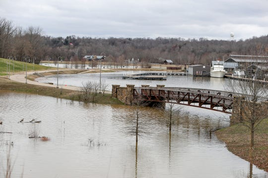 High water levels submerge an otherwise walkable and visible area around Clarksville Marina in Clarksville, Tenn., on Thursday, Feb. 13, 2020.