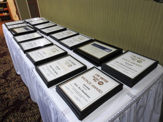 Framed certificates honoring donors to the United Way of Coshocton County over the last campaign season. Amount of money given corresponded to different honor levels.