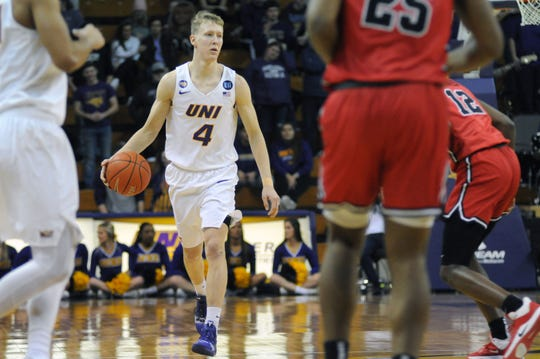 AJ Green brings the ball up the court Wednesday against Illinois State at the McLeod Center in Cedar Falls.