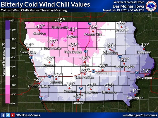 Wind chills hovered around minus 30 degrees in Des Moines and other parts of the state Thursday morning.