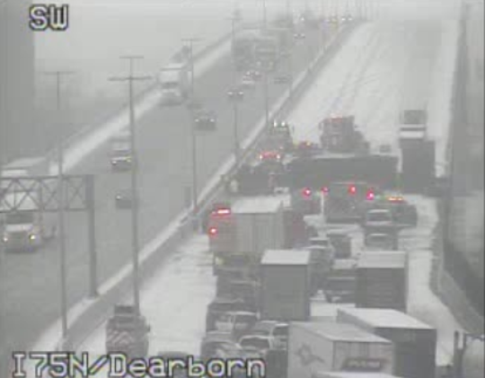 A crash is shown on southbound I-75 near River Rouge in a screenshot of a Michigan Department of Transportation traffic camera.