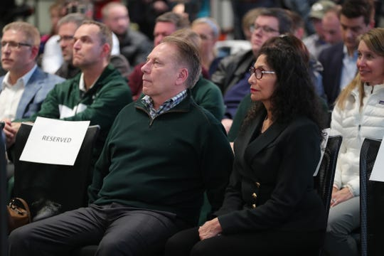 Tom Izzo and wife Lupe Izzo listen as Mel Tucker is introduced as the new Michigan State football coach Wednesday, Feb. 12, 2020 at the Breslin Center in East Lansing.