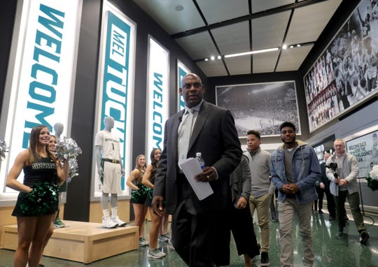 Mel Tucker arrives for the news conference announcing him as the new Michigan State football coach Wednesday, Feb. 12, 2020 at the Breslin Center in East Lansing.