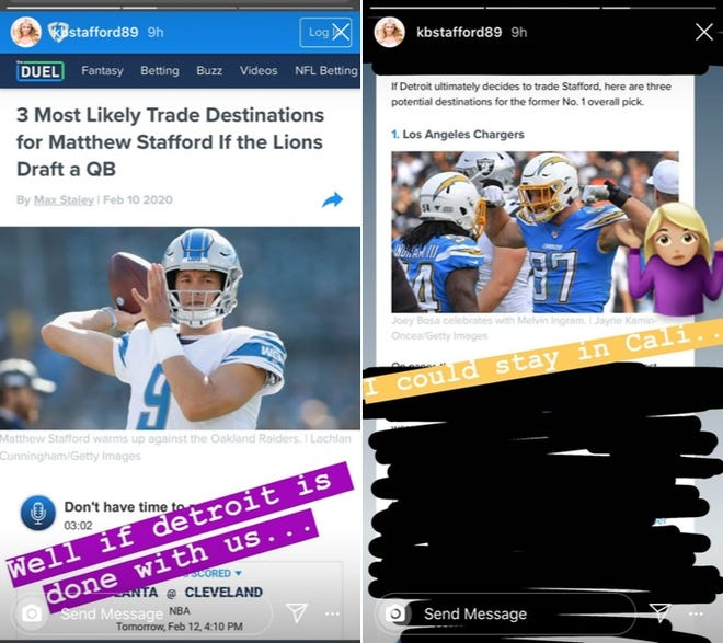 """Kelly Stafford responded on Instagram after reports surfaced that the Detroit Lions were looking to trade quarterback Matthew Stafford. The Lions refuted the reports as """"100% False!!"""""""