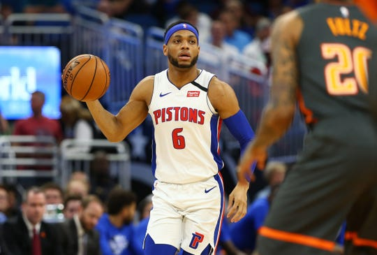 Detroit Pistons guard Bruce Brown dribbles the ball against the Orlando Magic during the first half Wednesday, Feb. 12, 2020 in Orlando.