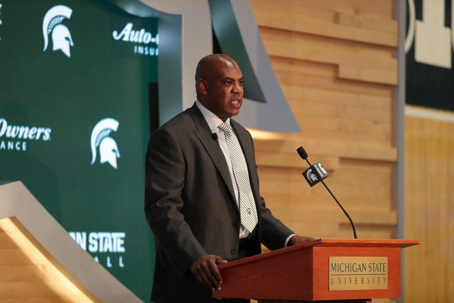 Mel Tucker is introduced as the new Michigan State football coach Wednesday, Feb. 12, 2020 at the Breslin Center in East Lansing.