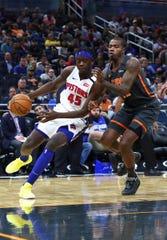 Sekou Doumbouya drives to the basket vs. Orlando during the first half Wednesday.