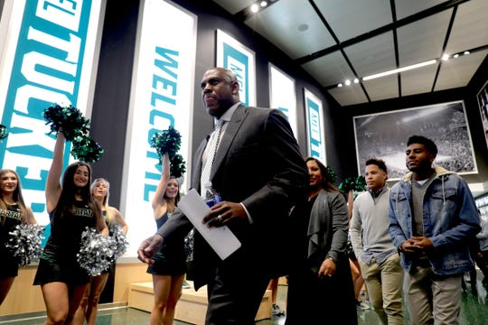 Mel Tucker and his wife Jo-Ellyn along with sons Joseph and Christian arrive for the press conference announcing Mel Tucker becoming the new Michigan State football coach Wednesday, Feb. 12, 2020 at the Breslin Center in East Lansing.