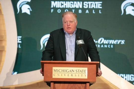 Michigan State athletic director Bill Beekman talks about new football coach Mel Tucker on Wednesday, Feb. 12, 2020 at the Breslin Center in East Lansing.