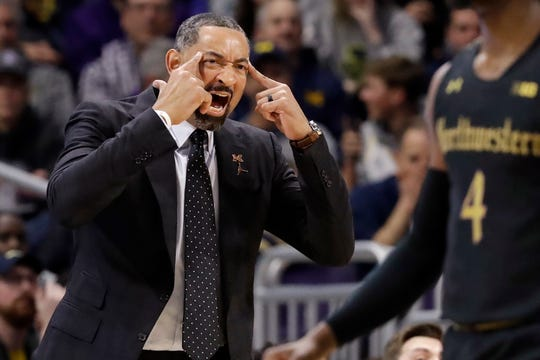 Michigan coach Juwan Howard yells to his team during the first half against Northwestern in Evanston, Ill., Wednesday, Feb. 12, 2020.