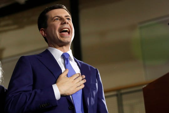 Democratic presidential candidate former South Bend, Ind., Mayor Pete Buttigieg speaks to supporters at a primary night election rally at Nashua Community College, Tuesday, Feb. 11, 2020, in Nashua, N.H.