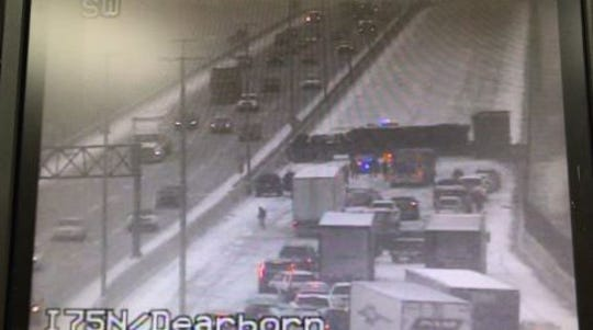 Southbound I-75 was closed at Springwells for several hours Thursday because of an overturned semi.