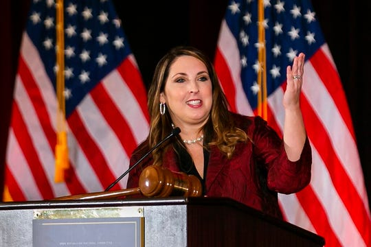 Ronna Romney McDaniel, the chair of the Republican National Committee, speaks during the RNC winter meeting at the Trump National Doral Resort in Miami, Friday, Jan. 24, 2020.