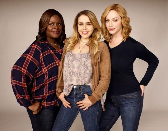 "Retta as Ruby Hill, left, Mae Whitman as Annie Marks and Christina Hendricks as Beth Bolandin ""Good Girls."""
