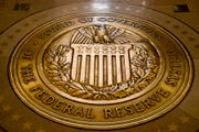The seal of the Board of Governors of the United States Federal Reserve System at the Marriner S. Eccles Federal Reserve Board Building in Washington.