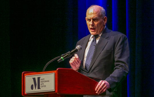 Former White House Chief of Staff John Kelly, speaks at the Mayo Performing Arts Center, Wednesday, Feb. 12, 2020, in Morristown, N.J. The retired Marine Corps general criticized President Donald Trump on several issues during the Drew University Forum lecture series, including the recent ouster of Lt. Col. Alexander Vindman, the former National Security Council aide and impeachment witness.