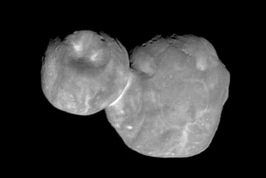 FILE- This Tuesday, Jan. 1, 2019, file image made available by NASA shows the Kuiper belt object Ultima Thule, about 1 billion miles beyond Pluto, encountered by the New Horizons spacecraft.