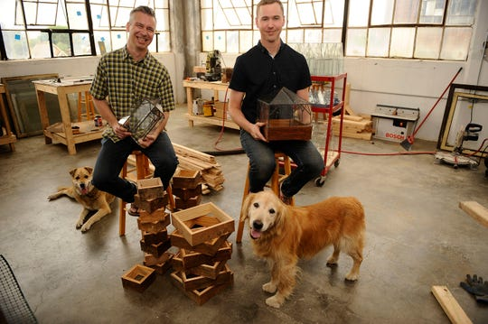 Chad Ackley, right, and Derek Smiertka of Leadhead Glass are building a life and business together.