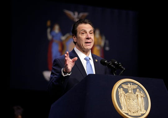 FILE - In this Feb. 25, 2019 file photo, New York Gov. Andrew Cuomo speaks during a bill signing ceremony in New York.